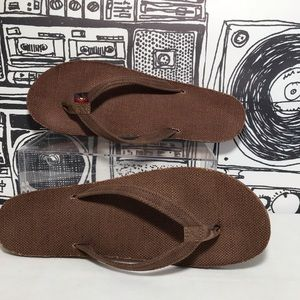 23fb32f10d428d Rainbow Shoes - Rainbow Hemp Sandals Flip Flips Brown Size 6.5